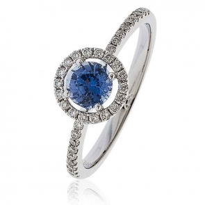 Sapphire Ring With Diamond Halo 0.80ct, 18k White Gold