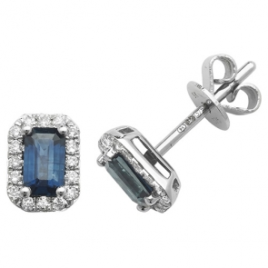 Sapphire & Diamond Earrings 0.92ct, 9k White Gold