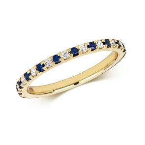 Sapphire & Diamond Half Eternity Ring 0.30ct, 9k Gold