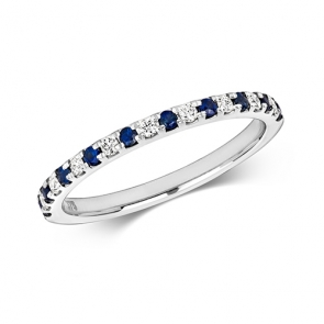 Sapphire & Diamond Half Eternity Ring 0.30ct, 9k White Gold