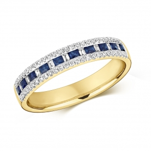 Sapphire & Diamond Half Eternity Ring 0.55ct, 9k Gold