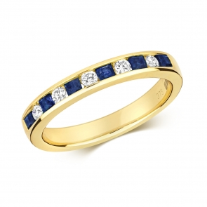 Sapphire & Diamond Half Eternity Ring 0.59ct, 9k Gold