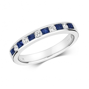 Sapphire & Diamond Half Eternity Ring 0.59ct, 9k White Gold