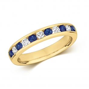 Sapphire & Diamond Half Eternity Ring 0.69ct, 9k Gold