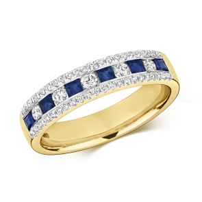 Sapphire & Diamond Half Eternity Ring 0.71ct, 9k Gold