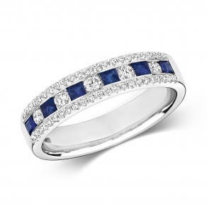 Sapphire & Diamond Half Eternity Ring 0.71ct, 9k White Gold