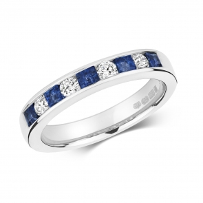 Sapphire & Diamond Half Eternity Ring 0.85ct, 9k White Gold