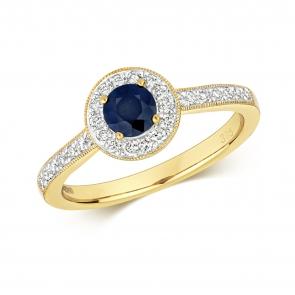 Sapphire & Diamond Halo Ring 0.75ct. 9k Gold