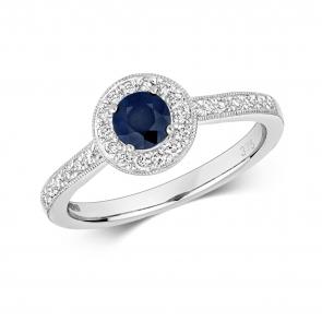 Sapphire & Diamond Halo Ring 0.75ct. 9k White Gold