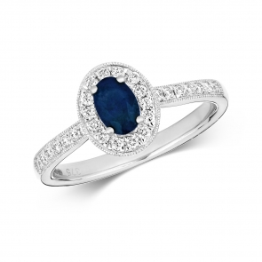 Sapphire & Diamond Oval Ring 0.77ct, 9k White Gold