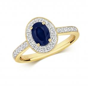 Sapphire & Diamond Oval Ring 1.33ct, 9k Gold