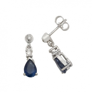 Sapphire & Diamond Pear Drop Earrings, 9k White Gold