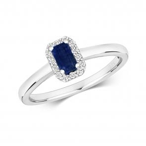 Sapphire & Diamond Ring, Emerald Cut 0.47ct, 9k White Gold