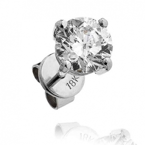 Single Diamond Stud 0.75ct, 18k White Gold