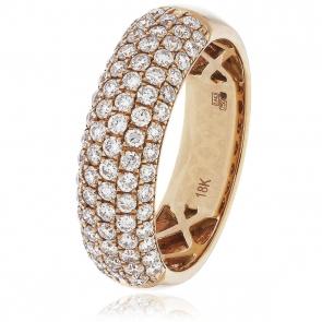 Diamond Pave Half Eternity Ring 1.00ct, 18k Rose Gold