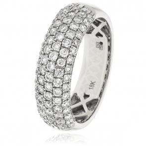 Diamond Pave Half Eternity Ring 1.00ct, 18k White Gold