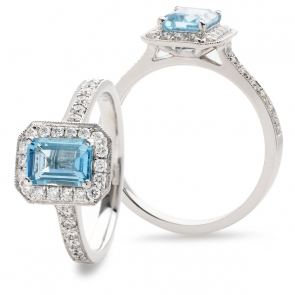Aquamarine & Diamond Ring 1.28ct, 18k White Gold