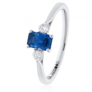 Sapphire and Diamond Ring 1.30ct, 18k White Gold