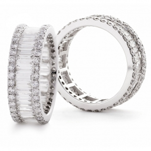 Diamond Baguette Full Eternity Ring 3.80ct, 18k White Gold