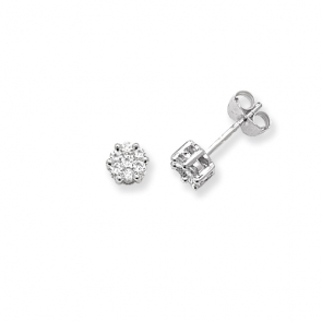 Diamond Cluster Stud Earrings 0.25ct, 9k White Gold