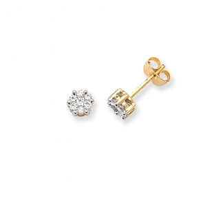 Diamond Cluster Stud Earrings 0.33ct G/SI, 9k Gold