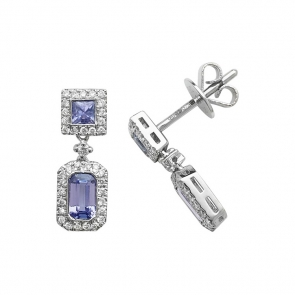 Tanzanite & Diamond Drop Earrings 1.03ct, 9k White Gold