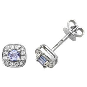 Tanzanite & Diamond Earrings 0.45ct, 9k White Gold
