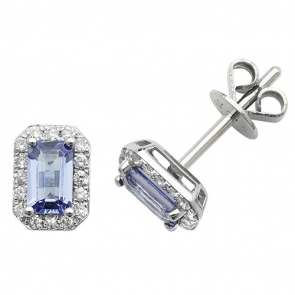 Tanzanite & Diamond Earrings 0.92ct, 9k White Gold