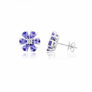 Tanzanite & Diamond Flower Earrings in White Gold