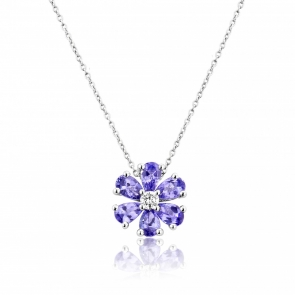Tanzanite & Diamond Flower Pendant in White Gold