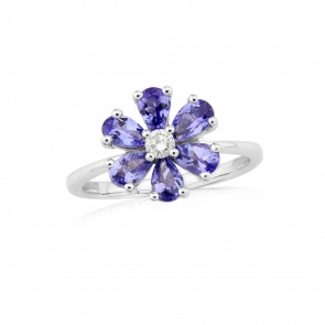 Tanzanite & Diamond Flower Ring in White Gold