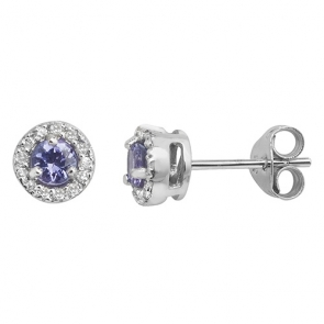 Tanzanite & Diamond Halo Stud Earrings 0.42ct, 9k White Gold
