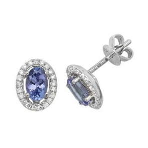 Tanzanite & Diamond Oval Halo Earrings, 9k White Gold