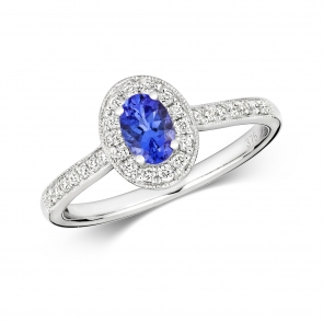 Tanzanite & Diamond Oval Ring 0.69ct, 9k White Gold