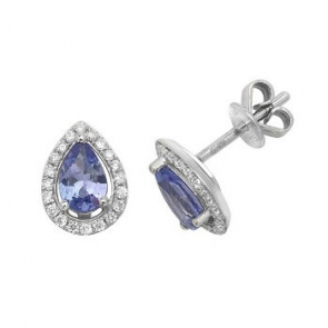Tanzanite & Diamond Pear Cut Earrings, 9k White Gold
