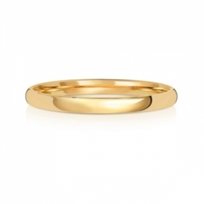 2mm Wedding Ring Traditional Court Shape, 18k Gold, Medium