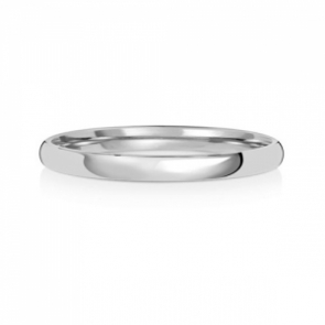 2mm Wedding Ring Traditional Court Shape, 9k White Gold, Medium