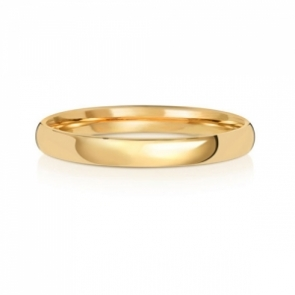 2.5mm Wedding Ring Traditional Court Shape, 18k Gold, Medium