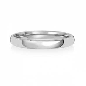 2.5mm Wedding Ring Traditional Court Shape, 9k White Gold, Medium