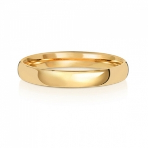 3mm Wedding Ring Traditional Court Shape, 9k Gold, Medium