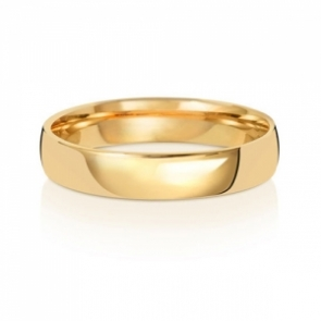 4mm Wedding Ring Traditional Court Shape, 18k Gold, Medium