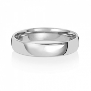 4mm Wedding Ring Traditional Court Shape, 9k White Gold, Medium