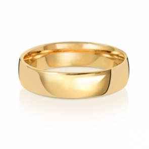 5mm Wedding Ring Traditional Court Shape, 9k Gold, Medium