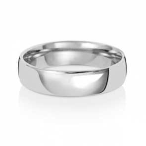 5mm Wedding Ring Traditional Court Shape, 18k White Gold, Medium