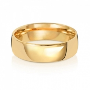 6mm Wedding Ring Traditional Court Shape, 18k Gold, Medium