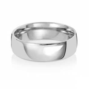 6mm Wedding Ring Traditional Court Shape, 9k White Gold, Medium