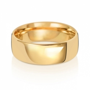 Wedding Ring Court Shape, 18k Gold 7mm