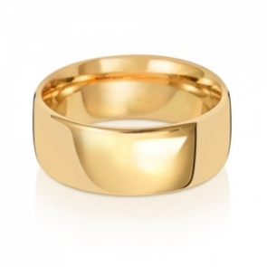 Wedding Ring Court Shape, 18k Gold 8mm