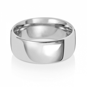 8mm Wedding Ring Traditional Court Shape, 9k White Gold, Medium