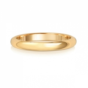 2.5mm Wedding Ring D-Shape 18k Gold, Medium